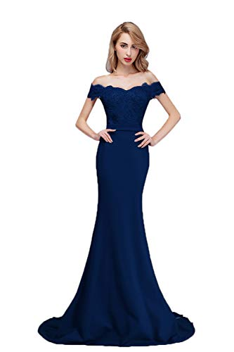 (Honey Qiao Navy Blue Off The Shoulder Mermaid Bridesmaid Dresses Long Prom Party Gowns)