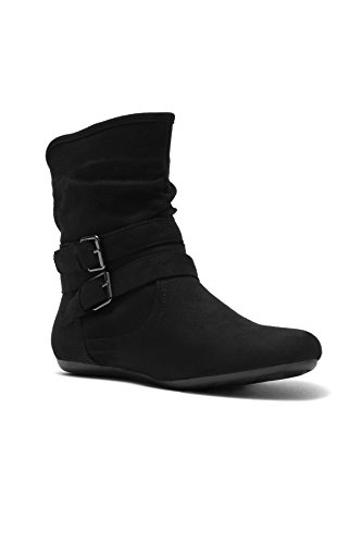 Flat Heel Boots (Herstyle Lindell Women's Lindell Stacked Heel, Round Toe, Riding Tight High Black 9)