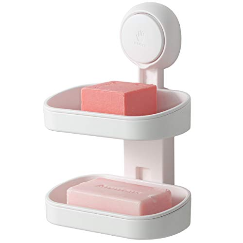 TAILI Double Layer Soap Dish Suction Cup Soap Holder, Strong Sponge Holder for Shower, Bathroom, Tub and Kitchen Sink, Drill-Free, Removable