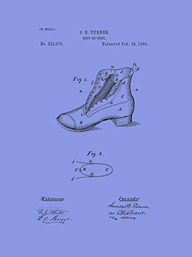 Framable Patent Art the Original Poster Art Print Vintage Footwear Shoe Boot 18in by 24in Patent Light PAPSP112LV, Violet (Patent Footwear Violet)