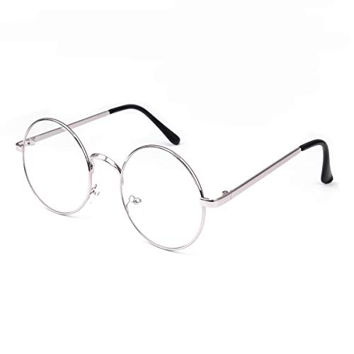 Retro Round Glasses Clear Lens Metal Frame UV400 Protection for Men Women ()