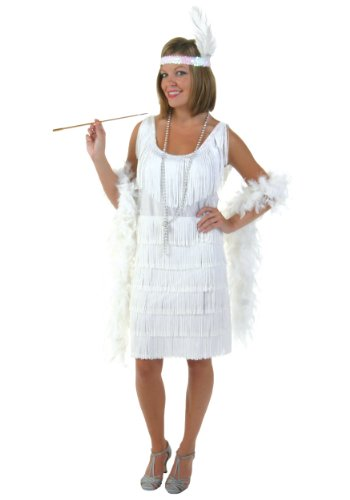 [Fun Costumes womens Plus Size White Flapper Girl Costume 1X] (Flapper Girl Costume For Adults)