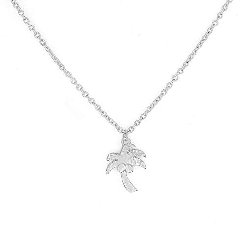 RUIZHEN Gold Silver Tiny Tropical Palm Tree Pendant Necklace (Silver)