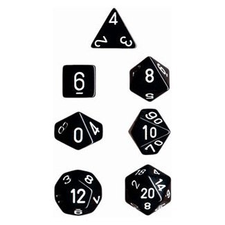 Chessex Dice: Polyhedral 7-Die Opaque Dice Set - Black with White ()