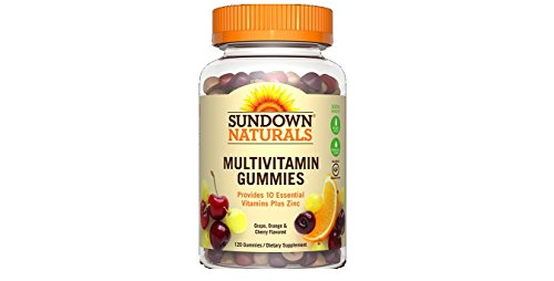 Sundown Naturals Adult Multivitamin with Vitamin D3 Gummies Orange, Cherry and Grape Flavored – 120 ct, Pack of 2