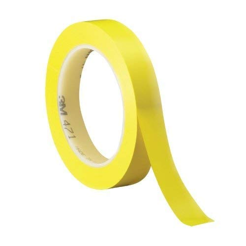3M 471 Marking Tape - 1/2 in Width x 36 yd Length - 5.2 mil Thick, (Pack of 1) (Yellow)