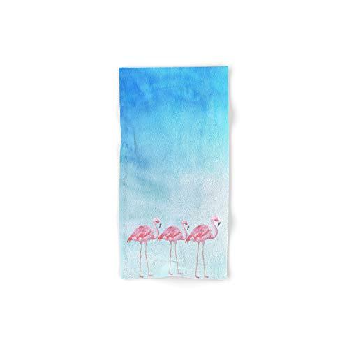 Society6 Bath Towel, 30'' x 15'', Flamingo Bird Summer Lagune - Watercolor Illustration by betterhome by Society6