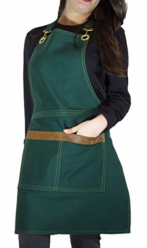 - ROFF Apron for Women and Man with Pockets 100% Turkish Cotton- Gabardine Fabric