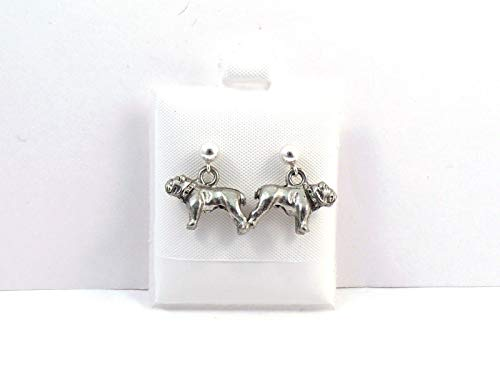 Pewter Bulldog Charms on Sterling Silver 4mm Ball Post Stud Earrings -5165 for Jewelry Making Bracelet Necklace DIY Crafts