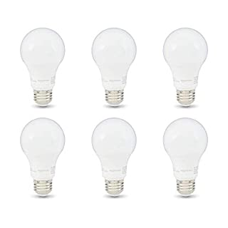 AmazonBasics 60W Equivalent, Soft White, Dimmable, 10,000 Hour Lifetime, A19 LED Light Bulb | 6-Pack