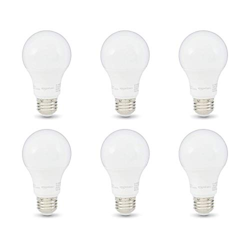AmazonBasics 60W Equivalent, Soft White, Dimmable, 10,000 Hour Lifetime, A19 LED Light Bulb | 6-Pack