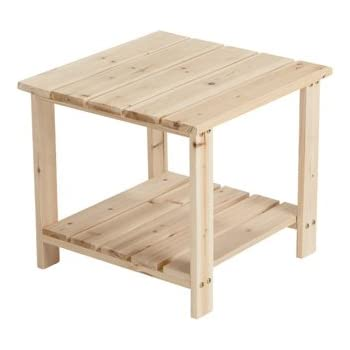 Attractive Unfinished Fir Wood 2 Tier End/Side Table