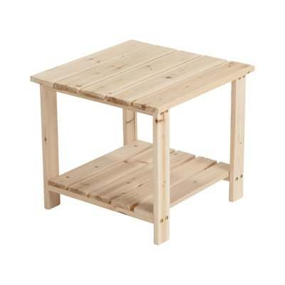 (Unfinished Cedar Wood 2-Tier End/Side Table)