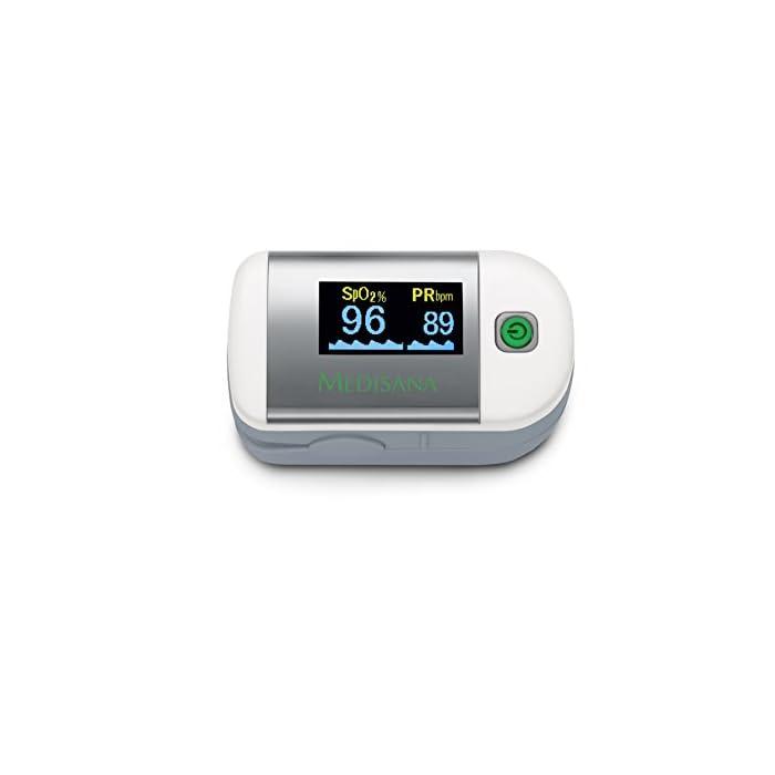 Medisana PM 100 Oxímetro de pulso, medición de la saturación de oxígeno en sangre, oxímetro de pulso de dedo con pantalla OLED y operación con una sola pulsación