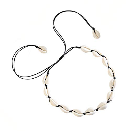 Hapito Puka Shell Necklace Choker for Women Men Girls - Natural Seashell Necklace Corded Pearl Choker Hawaiian Beach Jewelry