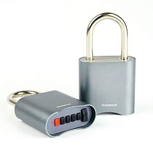 HONGNA Bluetooth Password Padlock USB Waterproof Lock Drawer Gym Door Lock Small Lock Warehouse Door Intelligent Anti-Theft 。 (Color : Gray) ()