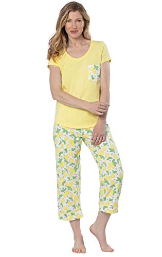 PajamaGram Cute Pajamas for Women - Capri PJs, Short Sleeve, Yellow, M, 10-12