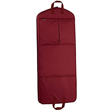 WallyBags 52 Inch Dress Length Garment Bag with Pockets, Red, One Size