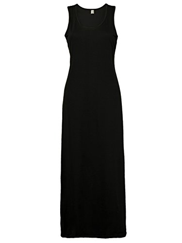 PERSUN Women's Summer Basic Solid Bodycon Tank Maxi Dress, Black