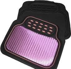 Universal Pink Black Checker Style Effect Heavy Duty Car Rubber Floor Full Mats Set