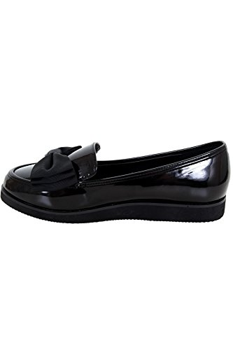 Work Chunky charol Accent ® Zapatos Creeper damas Mocasines Sole Negro Bow BOUTIQUE Dolly de FANTASIA School para xX7wvZRBTq