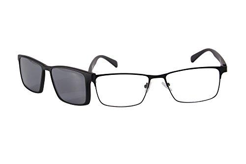 SHINU Rectangular Frame Optical Glasses Polarized Clip On Sunglasses - On Magnetic Eyeglasses Clip