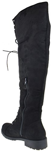 Black Women Knee Combat Leatherette The Nature Boot Up Suede Breeze Black Over Lace FG08 xEqaaYWzP