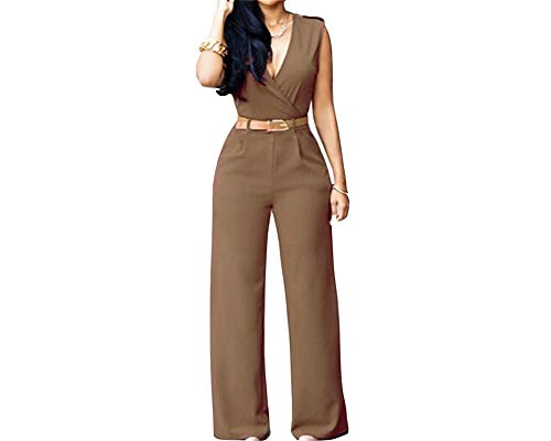 One Piece Khaki Jumpsuits Sexy Summer Loose Pant Solid Color High Waist Party Romper with Belt L