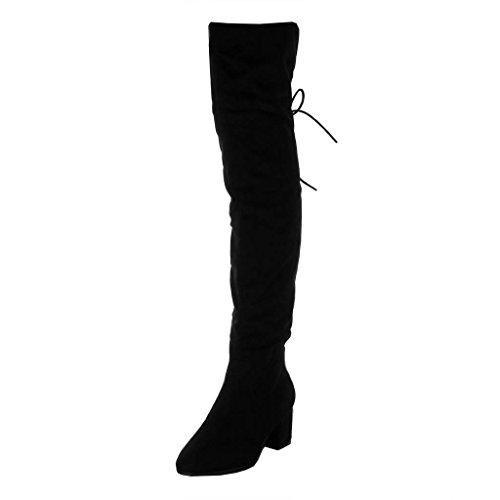 Alto Forrada CM Encaje Botas Negro 6 Altas de Ancho Piel Cavalier Moda Zapatillas Flexible Botas Classic Nodo Tacón Mujer Angkorly wCqaOO
