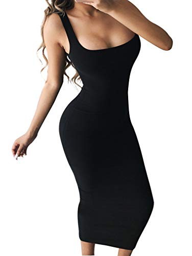 Ankle Length Dress - BEAGIMEG Women's Basic Tank Bodycon Sleeveless Solid Casual Long Dress Black
