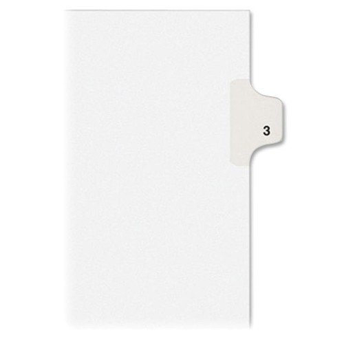 Avery Individual Legal Exhibit Dividers, Avery Style, 3, Side Tab, 8.5 x 11 inches, Pack of 25 (11913), White ()