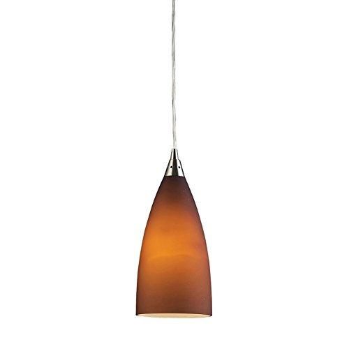 (ELK Lighting Vesta 1 Light Pendant in Satin Nickel and Tobacco Glass (2582/1))