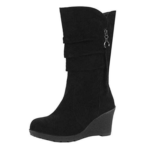 Binying Women's High Wedge Heel Zip Tassel Slouch Boots Black f7qV6BJ02
