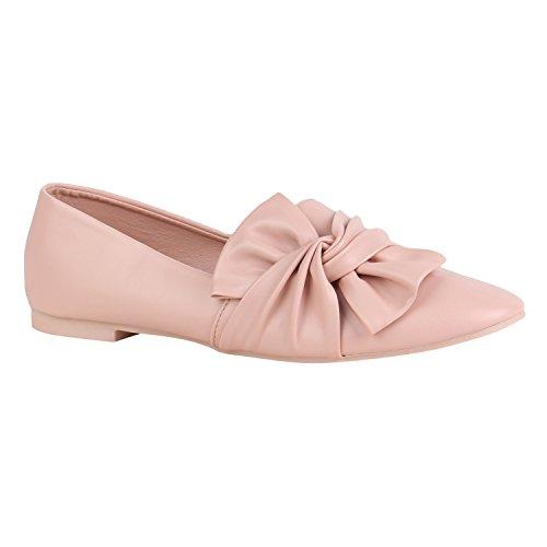 Stiefelparadies Damen Schuhe Slippers Tassel Loafers Quasten Elegante Slip Ons Flandell Rosa Schleifen