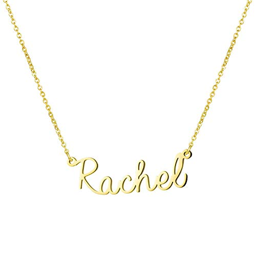 Yiyang Customize Gift for Girls Name Necklace 14K Gold Plated Stainless Steel Birthday Jewelry for Women Rachel