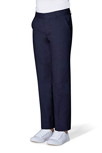 - French Toast Big Boys' Flat Front Double Knee Pant with Adjacent Waist, Navy, 8