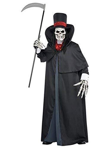 Mens Dark Black Red Death Grim Reaper Halloween 6 Piece Fancy Dress Costume Outfit M-L