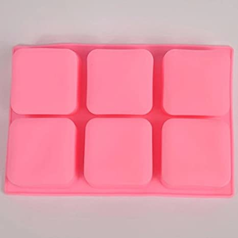 freshyware 6 Cavidad cuadrado redondeado especial molde de silicona para hacer jabón Mini bombas de baño