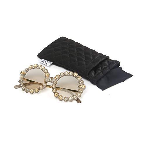 Face Shadow Rhinestone Oversized Sunglasses Fashion Round Thick Plastic Metal Frame Retro Bling Diamond Sun glasses for Women Brown Lens