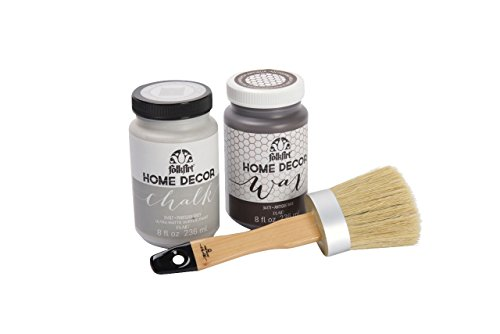 FolkArt HomeDécor Chalk Beginner Paint and Wax Kit with brush, (8 oz) Antique Wax, 8(oz) Parisian Grey Paint, PROMO34167A from FolkArt