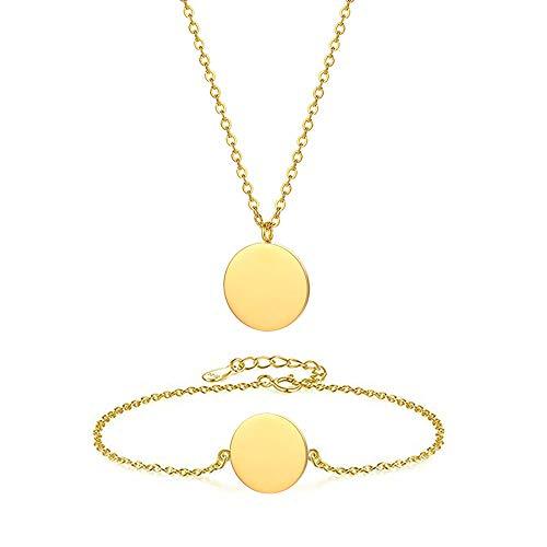 WLLAY Karma Circle Necklace Bracelet Set Jewelry for Women Minimalist Round Coin Pendant Disc Link Bracelet Bridesmaid Gift - Round Set Link Necklace