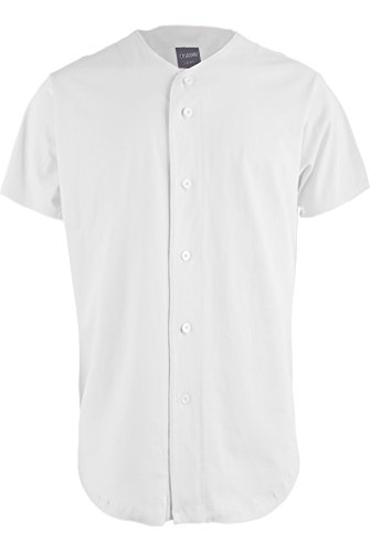 Button Down Jersey (TL Men's Baseball Hipster Button Down Athletic Short Sleeve Jersey Tops COTTON-WHITE L)