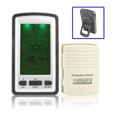 Wireless Weather Station LCD Display Clock with Perpetual Calendar/Temperature/Humidity/Remote Sensor/Weather Forecast Tendency/Alarm/LED -