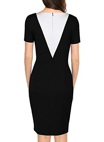 Business Slim Dress Sleeve Women's Pencil Bodycon Black WOOSEA Short URxBtXnw