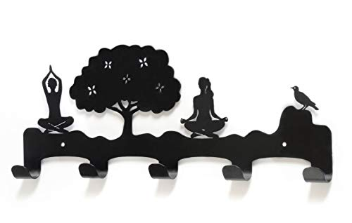 NAM NOM Yoga Black Wall Hooks for Kids - Metal Wall Art Decorative Hooks - Wall Mount with Key Holder and Coat Hooks - Home Décor Accents for Kids Room, - Accent Hook