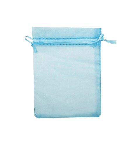 SUNGULF 100Pcs Sheer Organza Drawstring Pouches Wedding Gift Bags 3x4 Inches (Light Blue)
