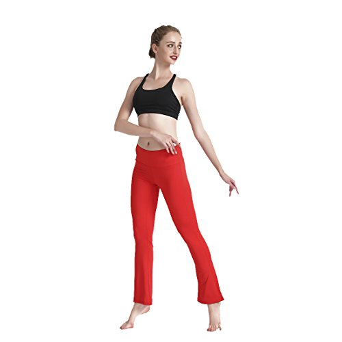 Lesubuy Wide Waistband High Waisted Thin Fitness Flared Yoga Pants for Women Outfit Flares Bell-Bottomed Pants X-Large
