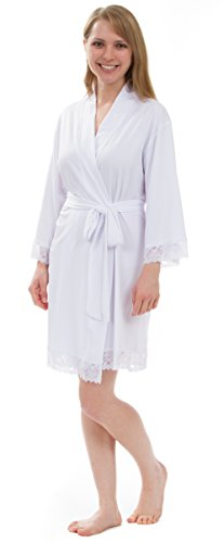 Leisureland Women's Stretch Jersey Lace Robes (Women S/M, White)