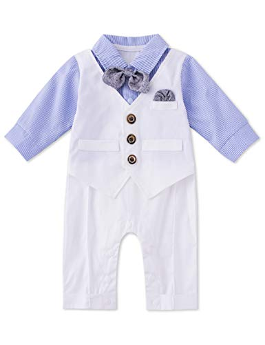HMD Baby Boy Long Sleeve Gentleman White Shirt Waistcoat Bowtie Tuxedo Onesie Jumpsuit Overall Romper (Light Blue, 9-12 -