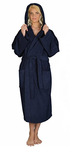 Arus Women's Classic Hooded Bathrobe Turkish Cotton Terry Cloth Robe (S,N.Blue)